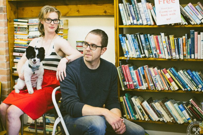 book store engagement couple