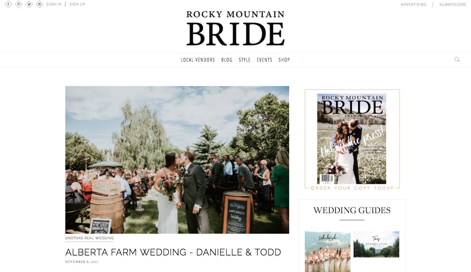 Featured on Rocky Mountain Bride - Alberta Farm Wedding