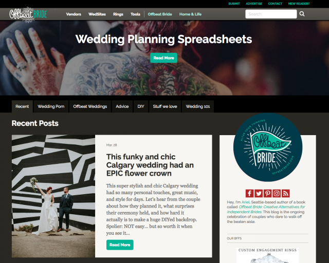 Featured on Offbeat Bride – Downtown Calgary Wedding at Festival Hall 1