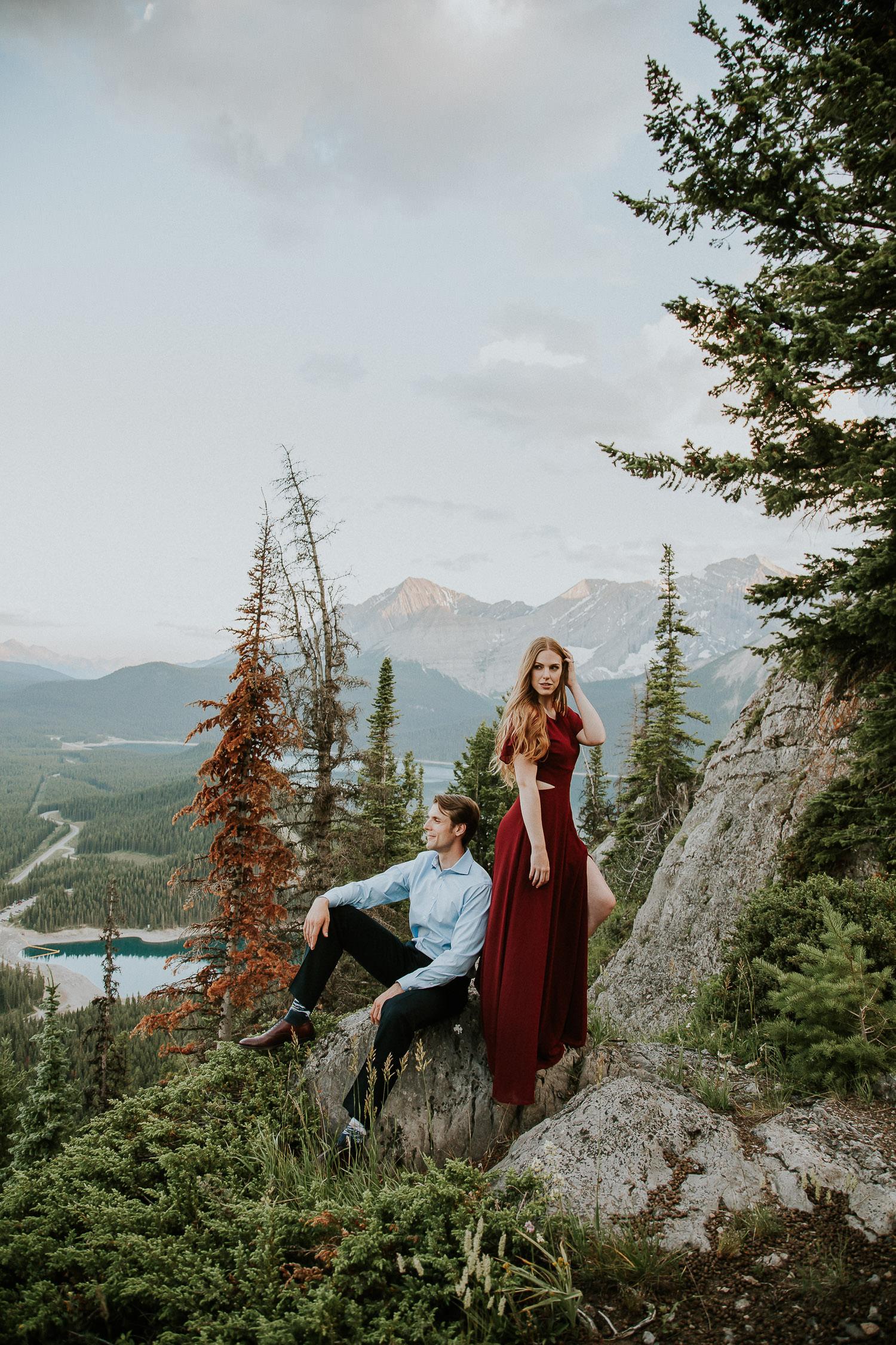 mountain top engagement photos with Canadian Rockies photographer Sarah Pukin