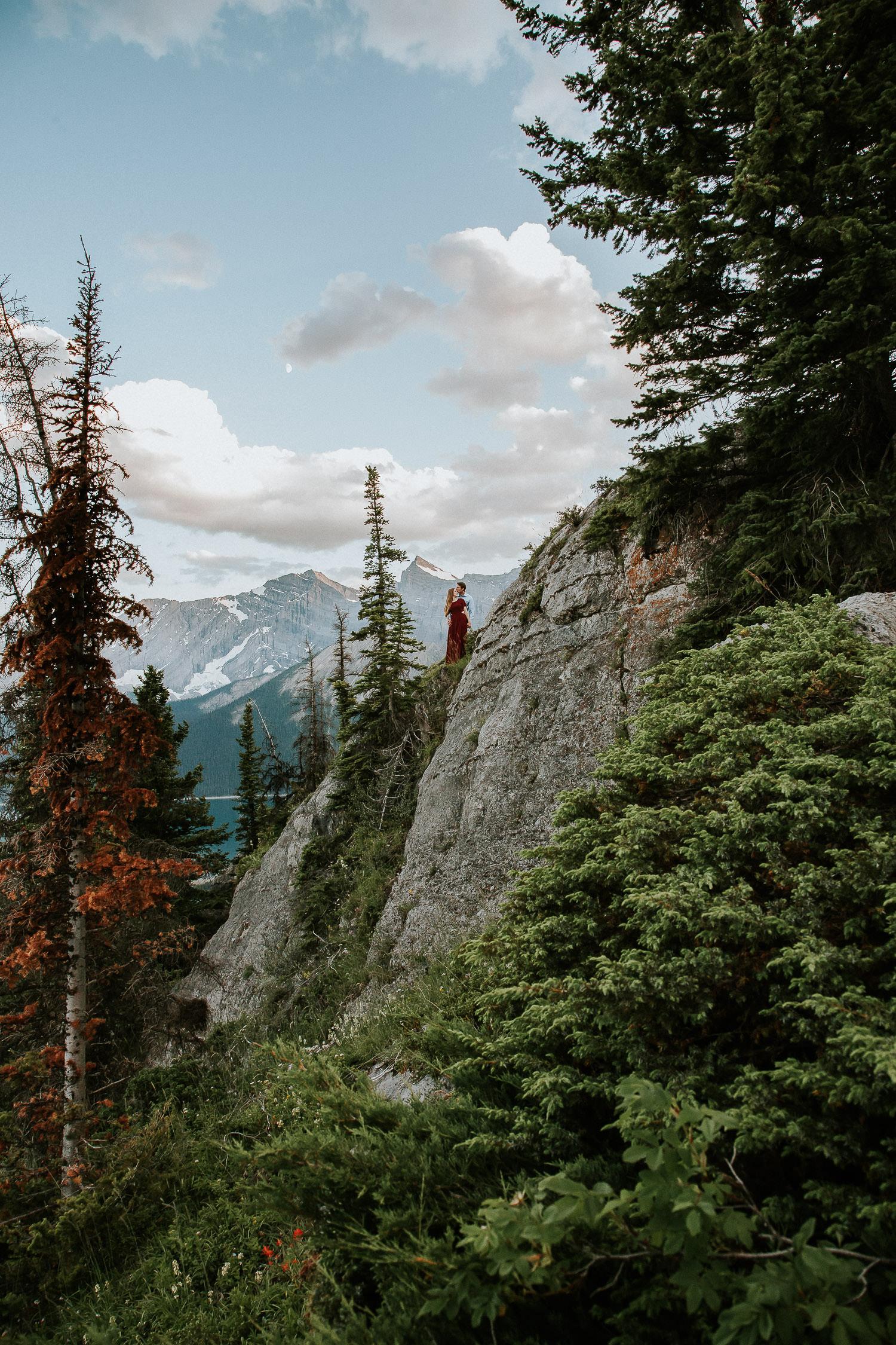 Top of a mountain engagement photos in kananaskis - Sarah Pukin