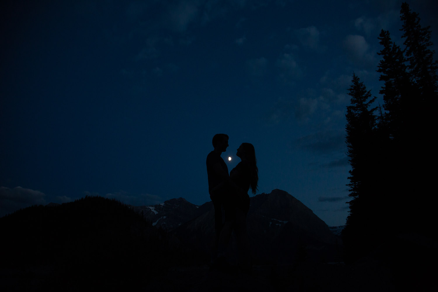 night engagement photos in the Canadian Rockies
