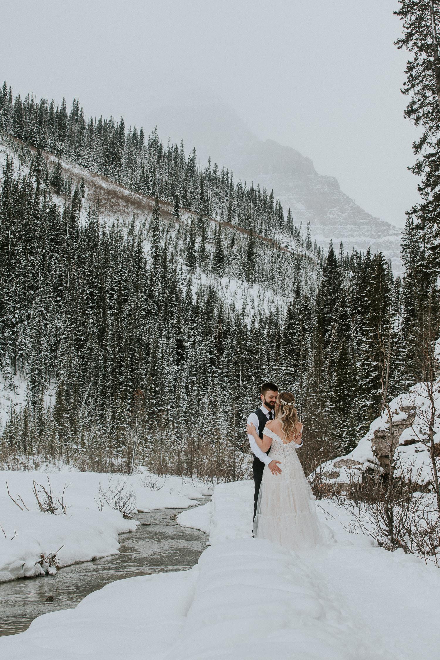 frozen lake winter wedding Canadian Rockys