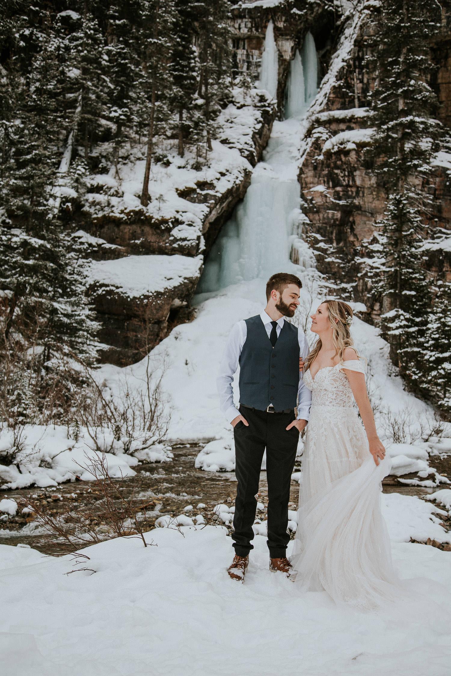 frozen waterfall in Lake Louise wedding