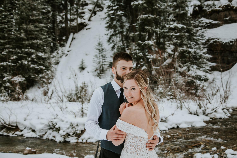 playful wedding photographer in Lake Louise