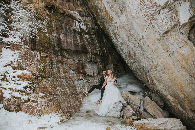 rock climbing cave in Lake Louise