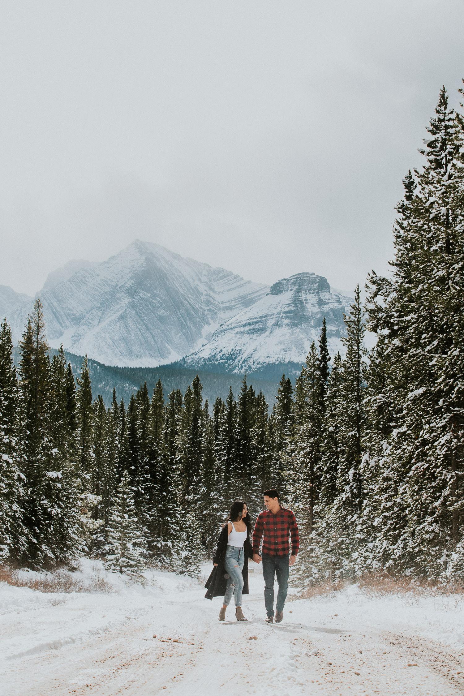 chilly Kananaskis Winter Engagement Photos - Sarah pukin