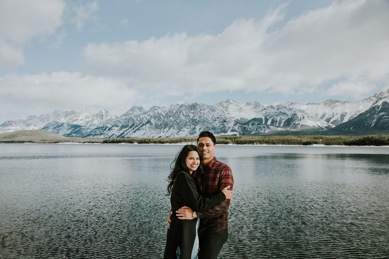 lower Kananaskis lake engagement photos in the winter - Sarah pukin