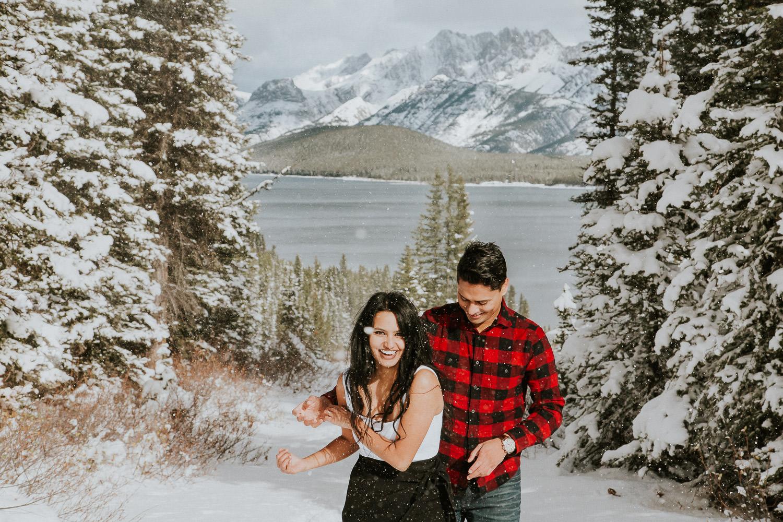 Kananaskis Winter Engagement Photos - Sarah Pukin